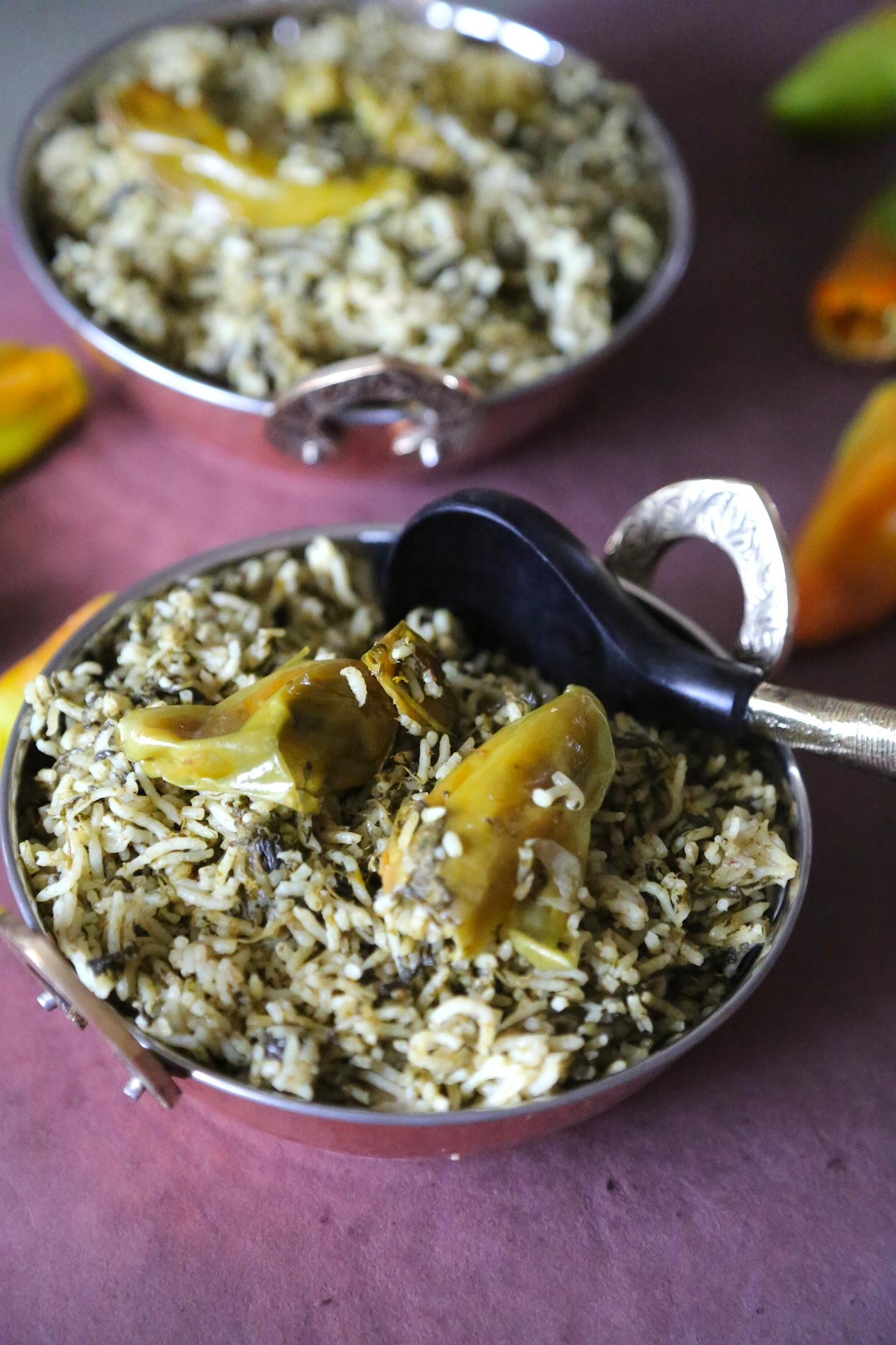 THREE GREEN PULAO WITH SPINACH, FRESH FENUGREEK AND GREEN CHILLIES