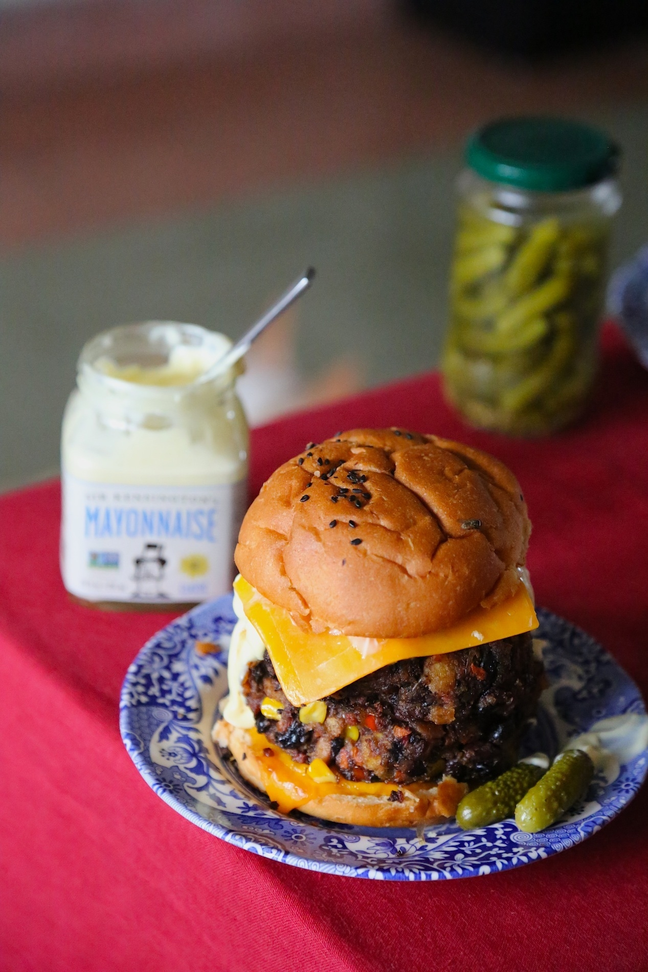 CORN AND BLACK BEAN BURGERS