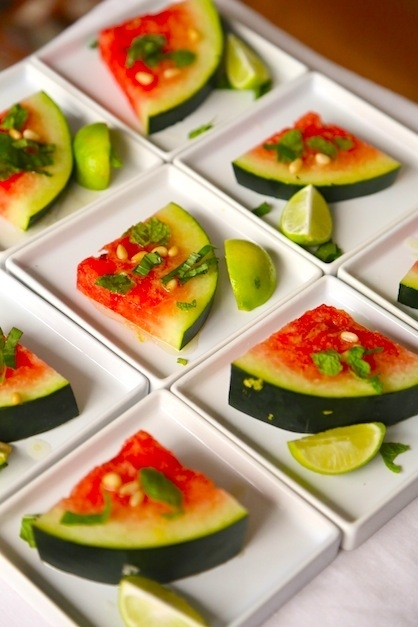 WATERMELON WEDGES WITH TEQUILA LIME DRESSING