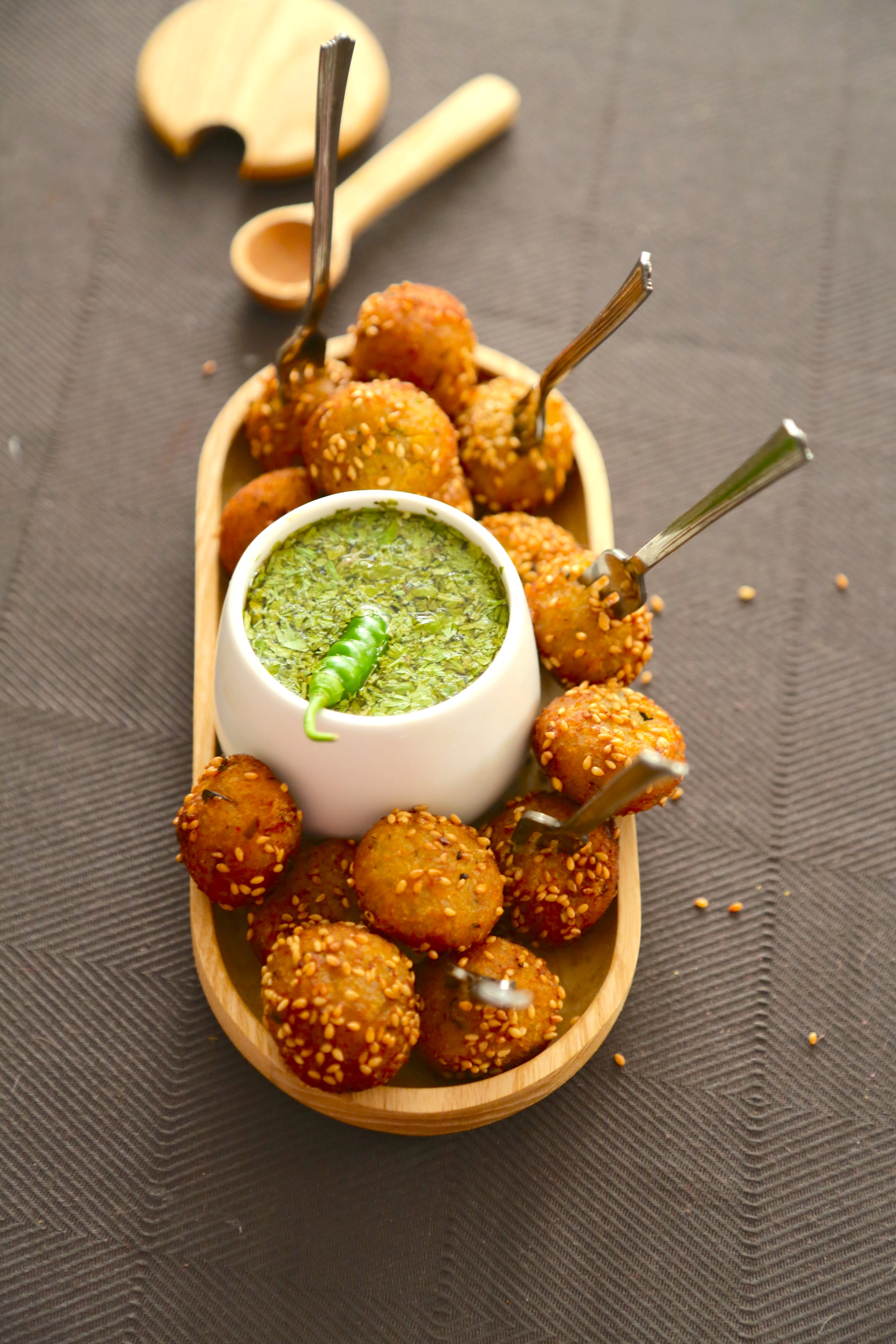 Crispy Sweet Potato and Sesame Balls with Coriander Dip