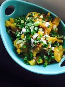 SPICED SWEET POTATO WITH TAMARIND AND RAW GREEN ONIONS