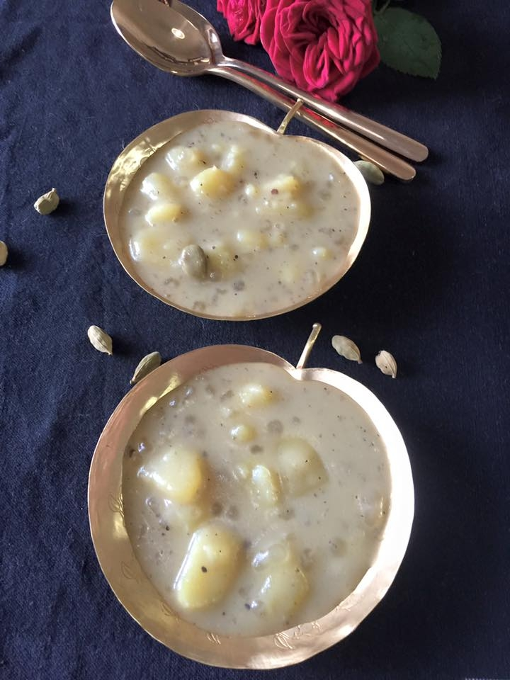 Kanangachi Kheer-vegan sweet potato, coconut and tapioca pudding