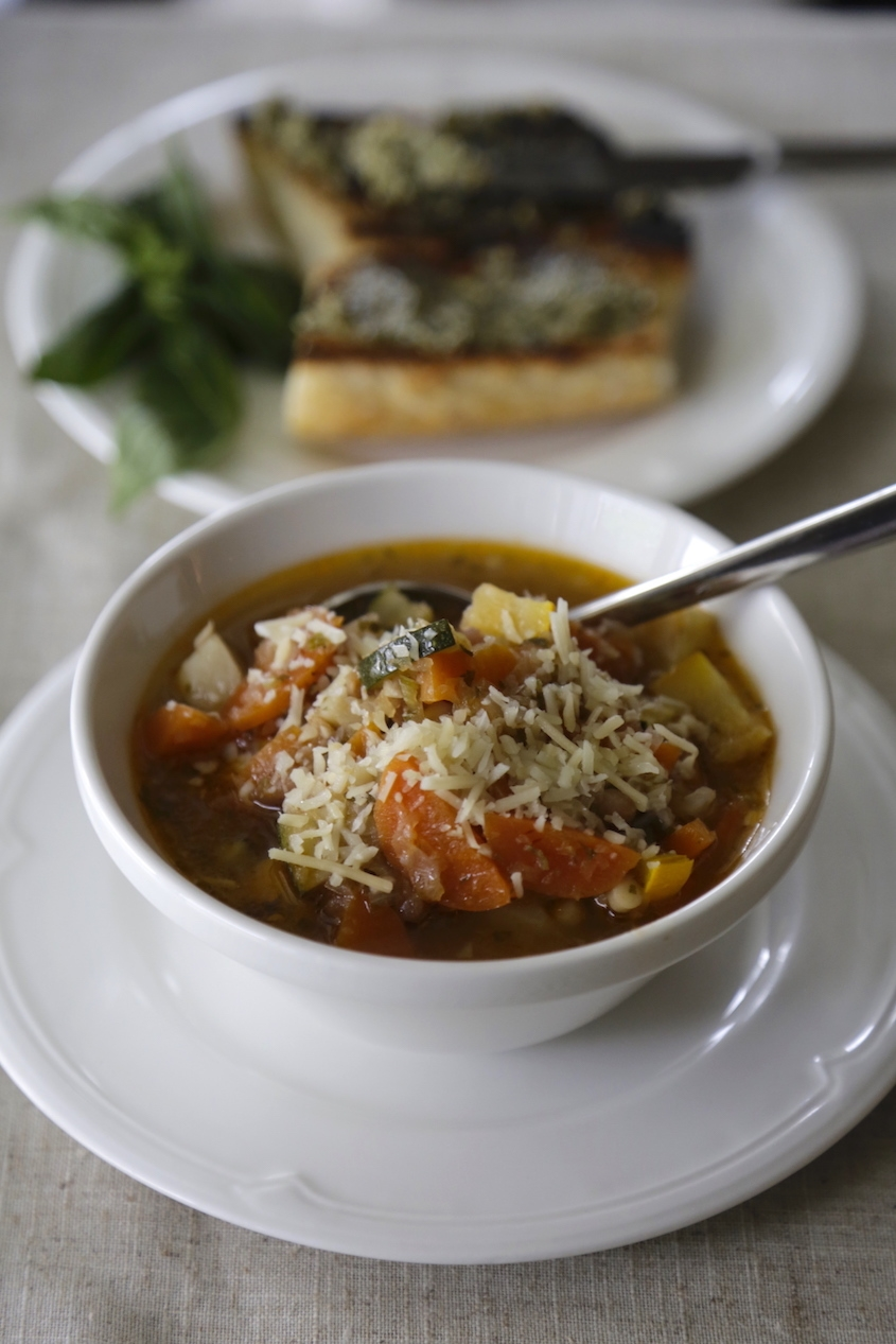 MINESTRONE WITH PASTA AND PESTO BUTTER BRUSCHETTA