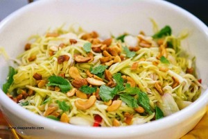 Thai style Green Mango salad with cashews