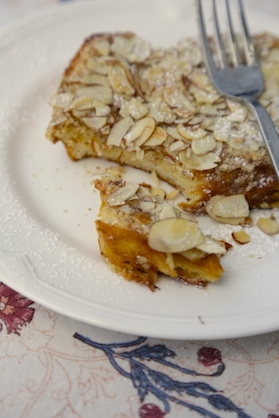 BOSTOCK- FRENCH TOAST WITH FRANGIPANE, RUM AND ALMONDS