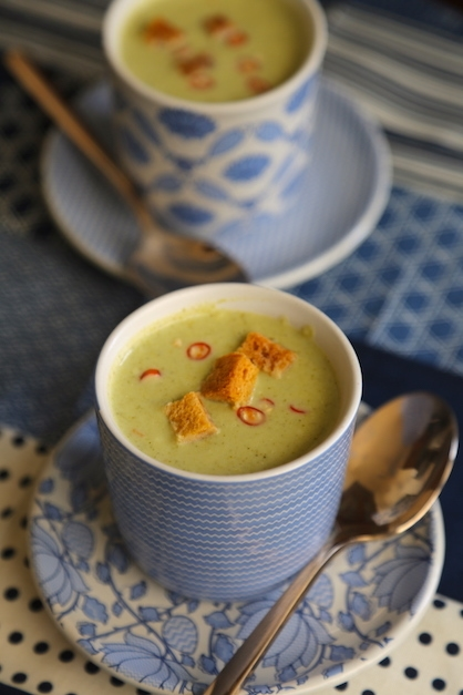 BROCCOLI SOUP WITH SALTED RED CHILLIES