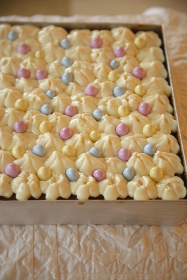 LEMON ALMOND CAKE WITH CREAMY FROSTING