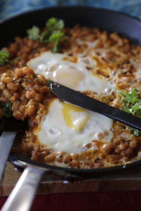 Skillet Eggs with Masala Baked Beans