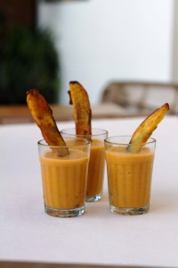 Sweet Potato Bisque shots with Spiced Crispy Fried Sweet Potato Wedges